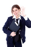 Friendly businesswoman with OK sign Stock Photo