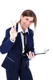 Friendly businesswoman with victory sign Stock Photography