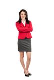 Friendly businesswoman on white Stock Images