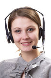 Friendly call center operator Stock Photo