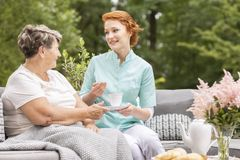 Friendly caregiver with tea talking to a senior woman in the gar royalty free stock images