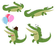 Friendly Cartoon Crocodiles Illustrations Set Stock Images