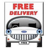Friendly Cartoon Delivery Van. Cartoon illustration of van, with free delivery text. Isolated on white background Royalty Free Stock Photos