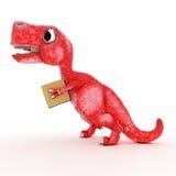 Friendly Cartoon Dinosaur with cardboard box Royalty Free Stock Photo