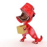 Friendly Cartoon Dinosaur with cardboard box Royalty Free Stock Photos