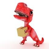 Friendly Cartoon Dinosaur with cardboard box Stock Photos