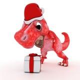 Friendly Cartoon Dinosaur with gift christmas box Stock Photography