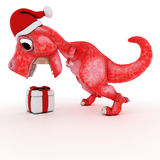 Friendly Cartoon Dinosaur with gift christmas box Royalty Free Stock Photography