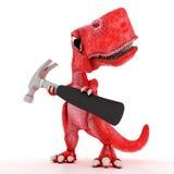Friendly Cartoon Dinosaur with hammer Stock Photography