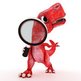 Friendly Cartoon Dinosaur with magnifying glass Stock Images