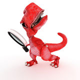 Friendly Cartoon Dinosaur with magnifying glass Royalty Free Stock Image
