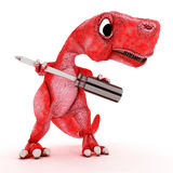 Friendly Cartoon Dinosaur with screwdriver Stock Photo