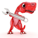 Friendly Cartoon Dinosaur with wrench Royalty Free Stock Images