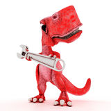 Friendly Cartoon Dinosaur with wrench Royalty Free Stock Image