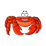 Friendly cartoon red crab with large pincers Royalty Free Stock Images