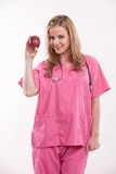Friendly caucasian healthcare worker doctor nurse Stock Photo