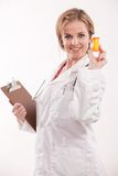 Friendly caucasian healthcare worker doctor nurse Royalty Free Stock Images