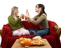 Friendly chat. Two cheerful friends talking, separate on white Royalty Free Stock Images