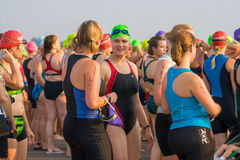 A friendly chat before a triathlon Stock Image