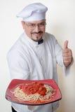 Chef With Plate of Gluten-Free Quinoa Spaghetti Stock Images