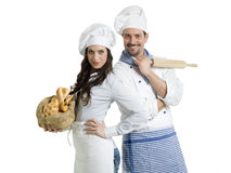 Chefs with bread and rolling pin Royalty Free Stock Photos