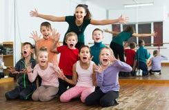 Friendly children  in dance studio having fun Stock Images