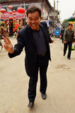 Friendly Chinese Man Give Peace Sign, Kaifeng Royalty Free Stock Photography