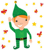 Friendly Christmas Elf Waving Stock Photos