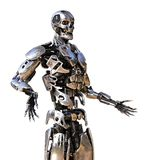 Friendly Chrome Robot Royalty Free Stock Photography
