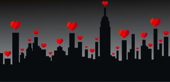 Friendly city skyline love stock image