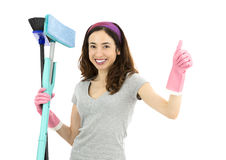 Friendly cleaning lady giving thumbs up Stock Images