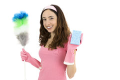 Friendly cleaning woman Royalty Free Stock Images