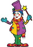 Friendly clown illusionist vector illustration