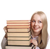 Friendly College student girl with books Stock Photo