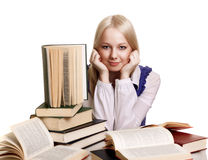 Friendly College student girl with books Stock Image