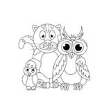 Friendly company. Cat, owl and titmouse. Coloring book. Friendsh Stock Image