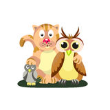 Friendly company. Cat, owl and titmouse.  Friendship. Style flat Stock Image