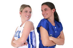 Friendly Competition Between Softball Teens Royalty Free Stock Images