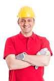 Friendly and confident construction worker Royalty Free Stock Photos
