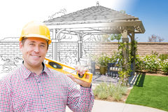 Friendly Contractor In Front of Drawing Gradating Into Photo of Finished. Contractor In Front of Drawing Gradating Into Photo of Finished Patio Cover stock photos