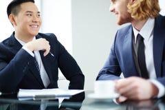 Friendly conversation Stock Photos