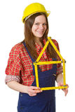 Friendly Craftswoman With Folding Rule Royalty Free Stock Photography