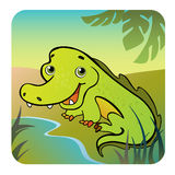 Friendly crocodile on the bank. Vector illustration of a friendly crocodile on the bank Royalty Free Stock Photo