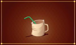 Friendly cup of tea with green straw on brown background with co Stock Images
