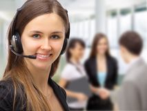 Friendly customer service. Consultants working Royalty Free Stock Photography