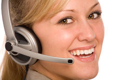 Friendly Customer Service Rep. Helpful Customer Service Representative with Headset Royalty Free Stock Photos