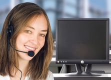 Friendly customer services with computer screen Stock Photos