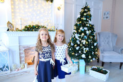 Friendly cute sisters pose for camera, hold gifts in hands , smi. Beautiful female sisters pose for camera, hold gifts and white lantern in hands , smiling and royalty free stock photography