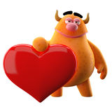 Friendly 3D character with a big heart - ideal as an icon Royalty Free Stock Photography