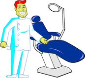 Friendly Dentist with chair Royalty Free Stock Photography